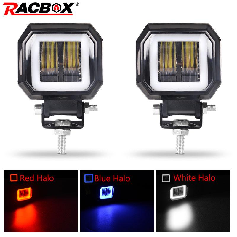 3 Cal 7D obiektyw LED praca mgła światło drogowe lampa biały niebieski czerwony Halo DRL anioł oko 12V 24V dla samochodów motocykl SUV ATV UTV reflektor