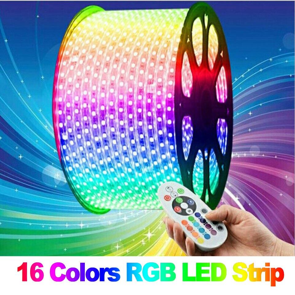 GD RGB LED Strip IP65 25M 30M 35M 50M 100M Led Strip Waterproof Led Flexible String 220V Led Strip Lights W/Remote Contoller
