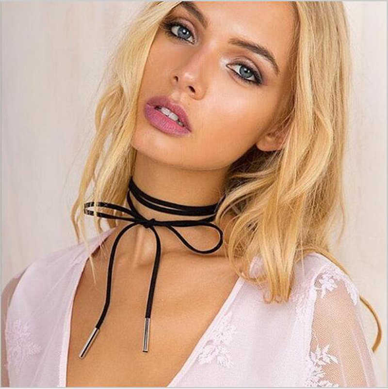 Black Lace Choker Tattoo Necklace Gothic Punk Velvet Long Pendant Women Collar Jewelry Chocker Necklaces