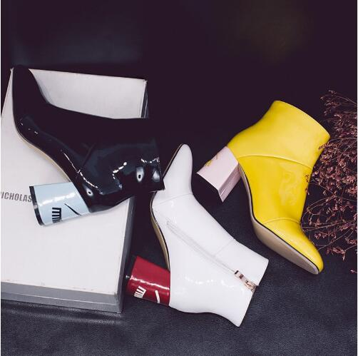 New Fashion Big Eyelash Graffiti Cute Thick Heel Fur Winter Ankle Boots Black Yellow White Patent Shoes Chelsea Boots women women winter coat leisure big yards hooded fur collar jacket thick warm cotton parkas new style female students overcoat ok238