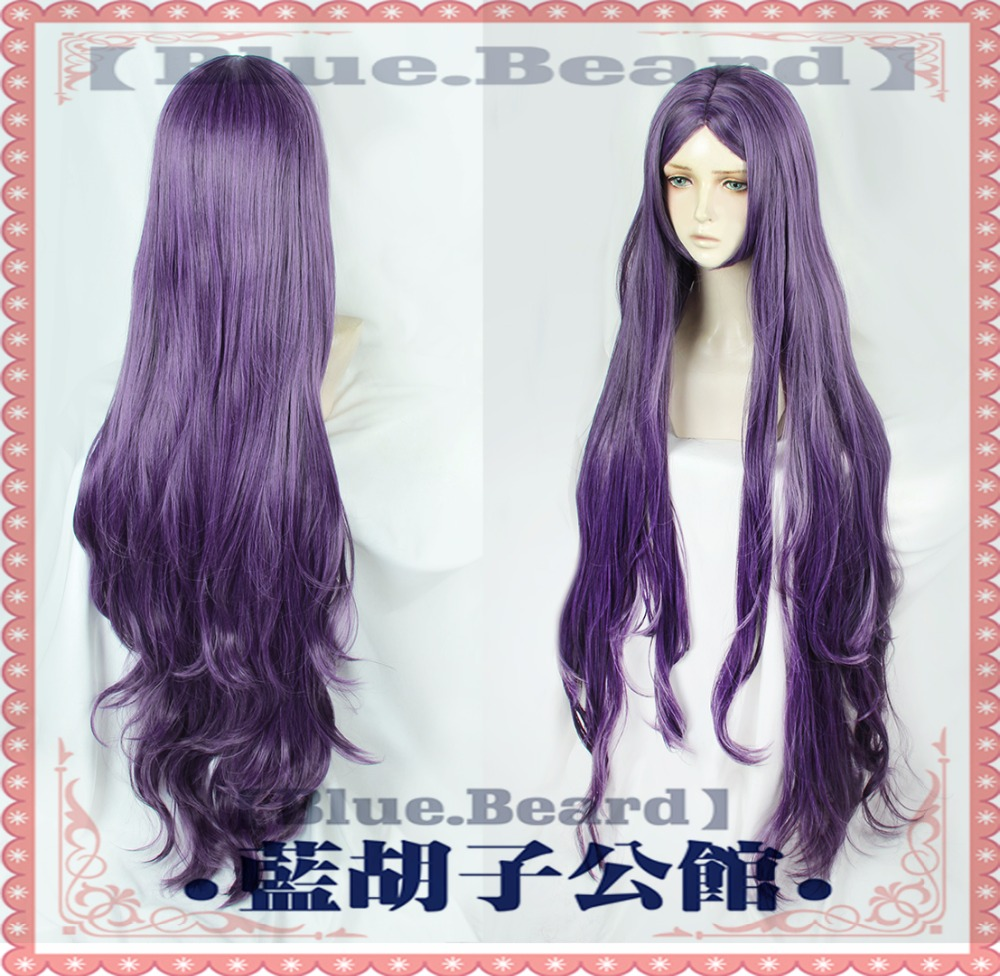 Fate Grand Order Cosplay Wig Queen of Sheba Servant Caster Purple 120cm Long Synthetic Hair for