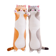 цена Long Cat Pillow Stuffed Plush Cat Toy 50-110cm Soft Cushion Stuffed Animal Cats Pillow Kids Sleeping Kawaii Lovely Gift for Kid онлайн в 2017 году
