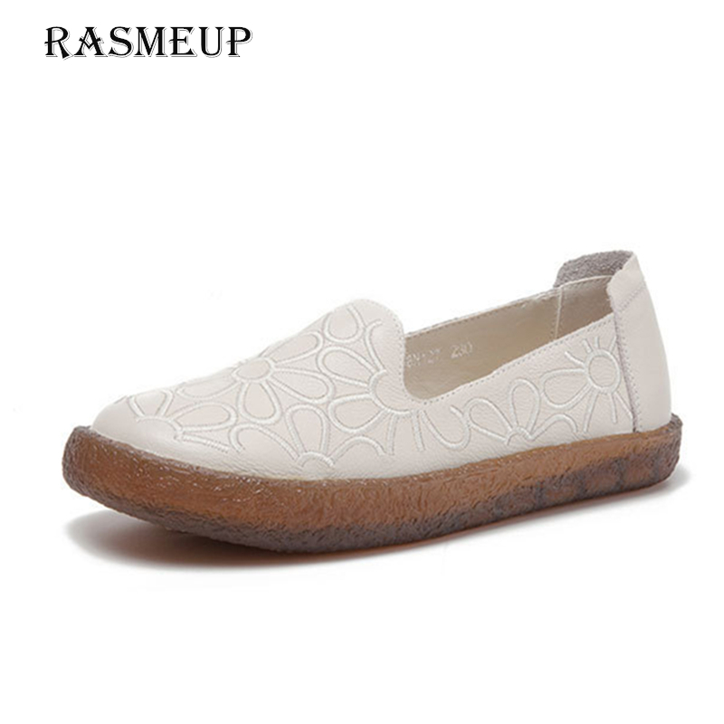RASMEUP Genuine Leather Women's Slip On Soft Flats 2018 Spring Embroidery Comfortable Women Flat Shoes Woman Casual Loafers цена
