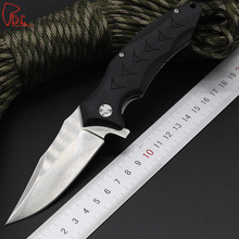 Dcbear Ball Bearing Folding Knife 440 Blade Combat Survival EDC Knives G10 Handle Tactical Camping Tools