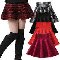 2015 New Girls Brief Skirts Spring Summer Children Pleated Mini Skirts Solid Plaid Princess Kids Brand