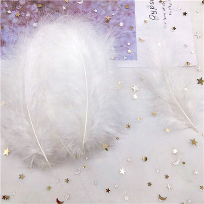 Natural Turkey Feathers Plumes 4-6 Inches10-15cm Multicolor Chicken Marabou Feather DIY Craft Wedding Jewelry Decoration 50pcs - Цвет: White 50p