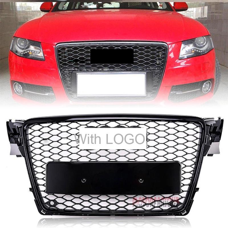цена на Car Racing Grille For Audi A4 B8 Grill 2009-2012 S4 RS4 Style Chrome Emblems Cover Radiator Front Bumper Black Mesh Honeycomb