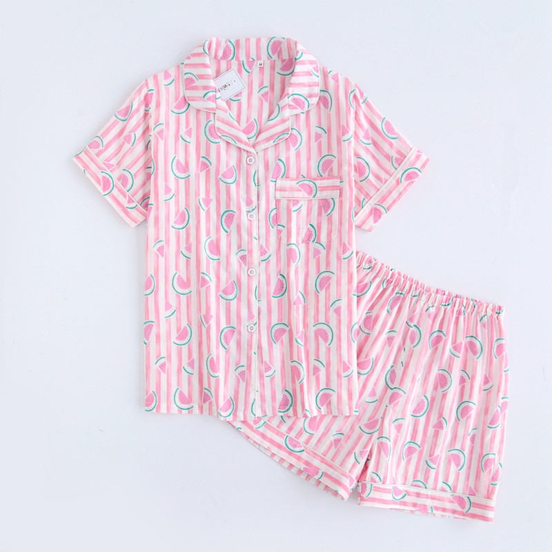 Cute watermelon pink short pajamas sets women sleep