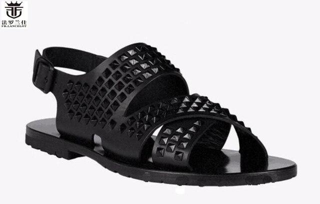 9cacbdac3d7b LANCELOT Europe new 2019 men gladiator sandal flat heel summer shoes black leather  sandals spike stud thick heel causal flats