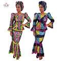 2017 Ropa Tradicional Africana Vestidos para Mujeres de Impresión de Cera Africana Mujeres Conjunto Africano Dashiki Falda Larga Más Tamaño 6XL WY017