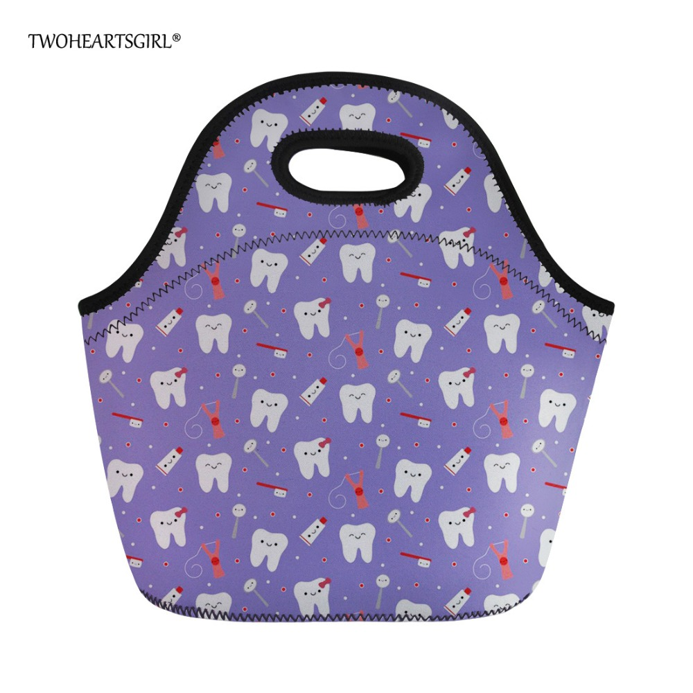 Twoheartsgirl Neoprene Lunch Bag for Women Purple Dental Printing Thermal Lunchbox Cute Lancheira Kids Girl Cooler Food Bags
