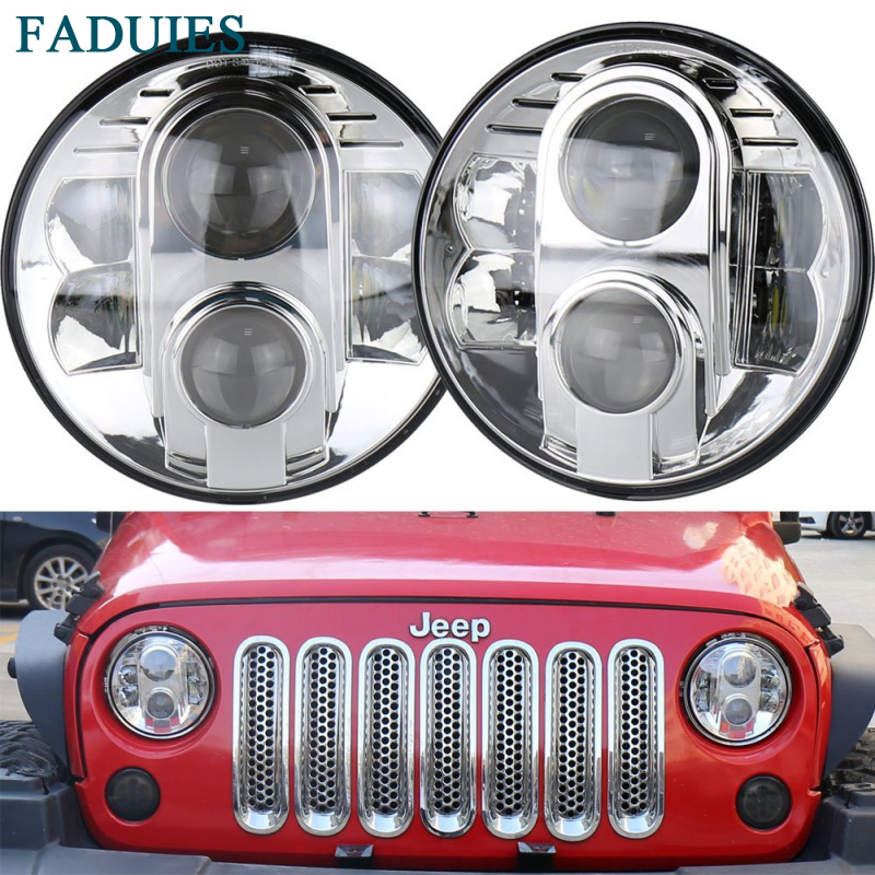 FADUIES Chrome 7 inch H4 Aluminum 80W LED Headlight 7 High Low Beam Led headlamp For Land Rover Defender Jeep Wrangler JK for buick encore opel mokka 2012 2014 car rain lamp super bright special laser beam rear end collision warning light page href