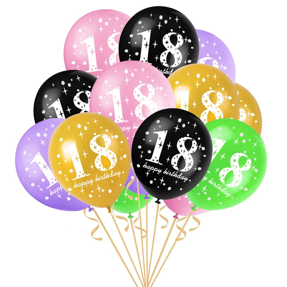 10pcs 12inch Happy 18th Birthday Balloons 18 Years Old Decoration Air Balloon Globos Event Party Supplies Adult Ballon