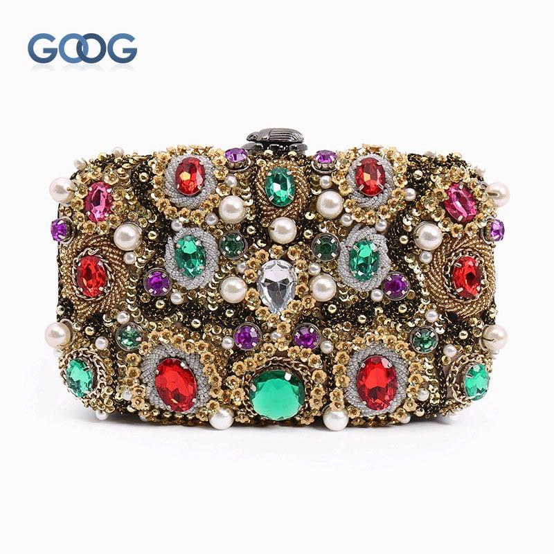 Original Design Luxury Golden Retro String Jewels Dinner Women Bag Oblique Cross Flash Drill Heavy Beads Evening Clutch Bags