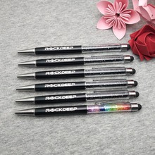 Stylus touch pen + Promotional logo Metal Pens for company events custom free with any text  better in 2 lines 3-10 letters