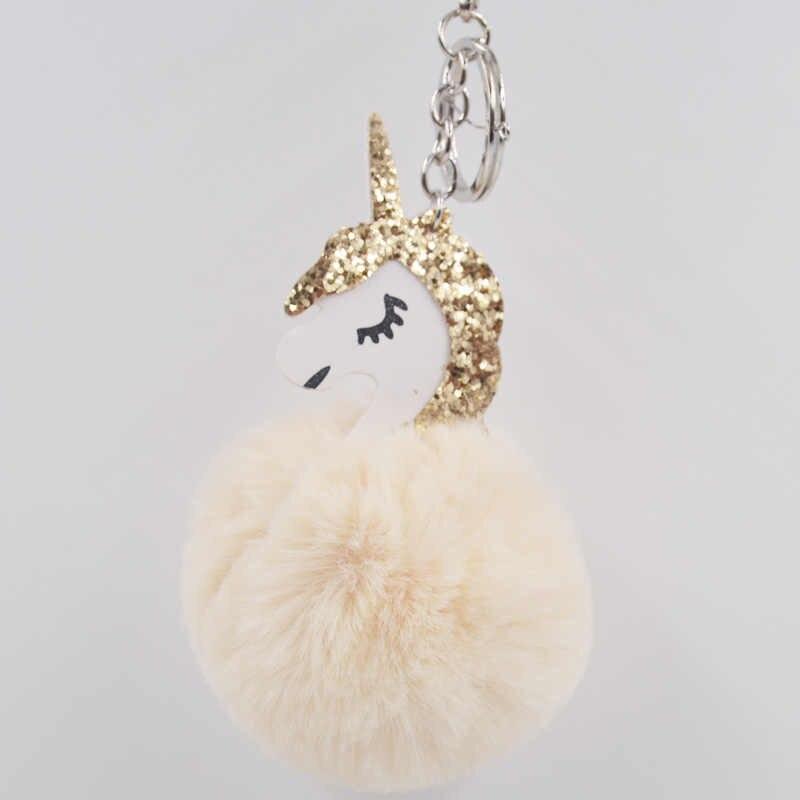 Unicórnio coelho pompom bola de pêlo chaveiros artificial mulheres saco anel chave do carro chaveiro porte titular pompom fofo clef chaveiro