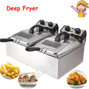 Electric Deep Fryer Large Capacity Timing Frying Machine Double Cylinder Fried Machine SZ-6BX2