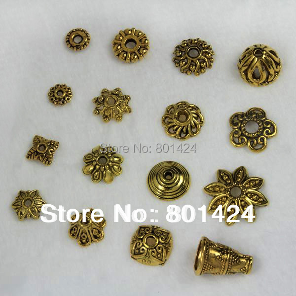 Gold Plated Silver Antique Beads: 1 Lot Tibetan Antique StyleTone Small Flower Antique Gold
