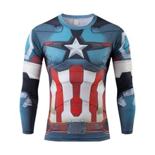 2016 new Superhero captain America, spider-man printing menswear t-shirts long-sleeved round collar speed dry clothing