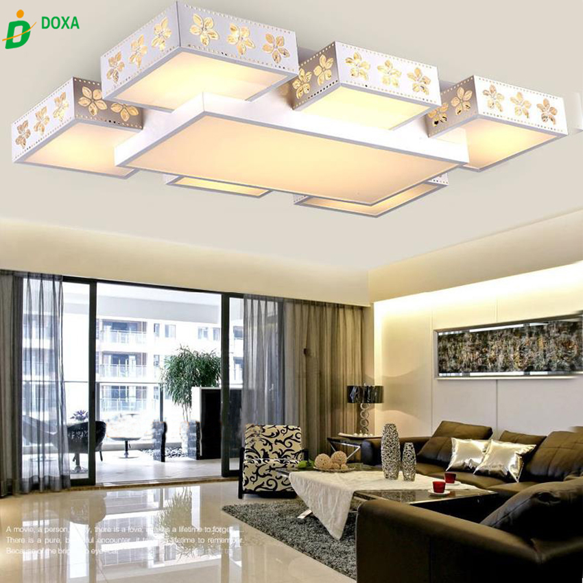 Modern Fashion LED Ceiling Lights Dimmable Acrylic Sakura Square Flush  Mount Light Living Room Bedroom Study