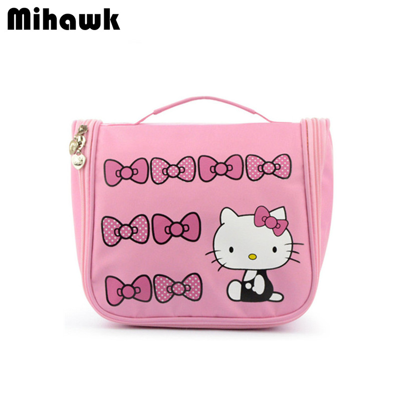Hello Kitty Hanging Cosmetic Toiletry Bag Travel Organizer Beautician Necessaire Functional Makeup Pouch Case Accessories Supply