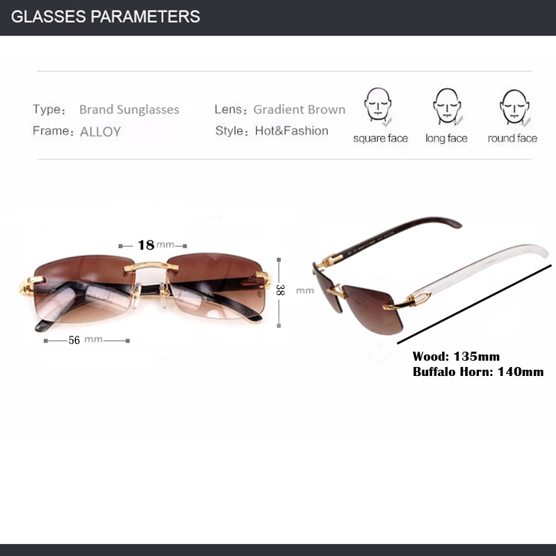 5a19f799c3e Wood Sunglasses Black Mix White Buffalo Horn Retro Styple Shades Men  Rimless Clear Glasses Frame for Club and Driving 012-in Sunglasses from  Apparel ...