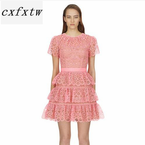 Robe à manches courtes 2018 été col rond jolie robe en dentelle rose de haute qualité