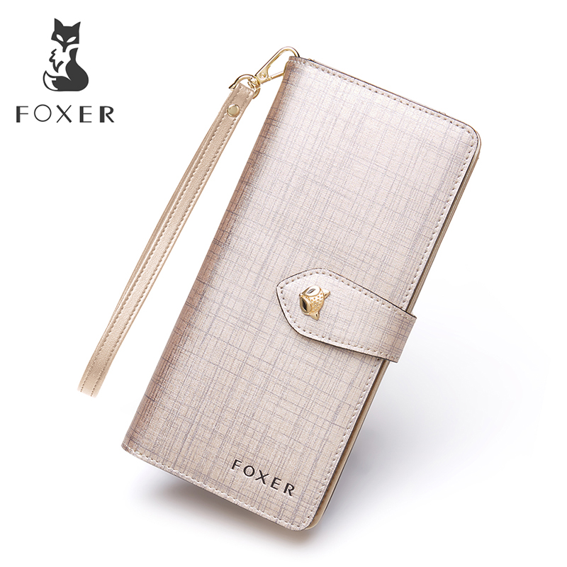 FOXER Women Leather Wallet with Wristlet Purses High Quality