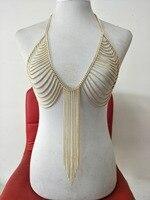 Luxo Moda Impressionante Sexy Barriga Corpo de Prata Tom de Ouro Cadeia de Praia Desgaste Sutiã Slave Harness Colar Cintura Borla Jóias BY183