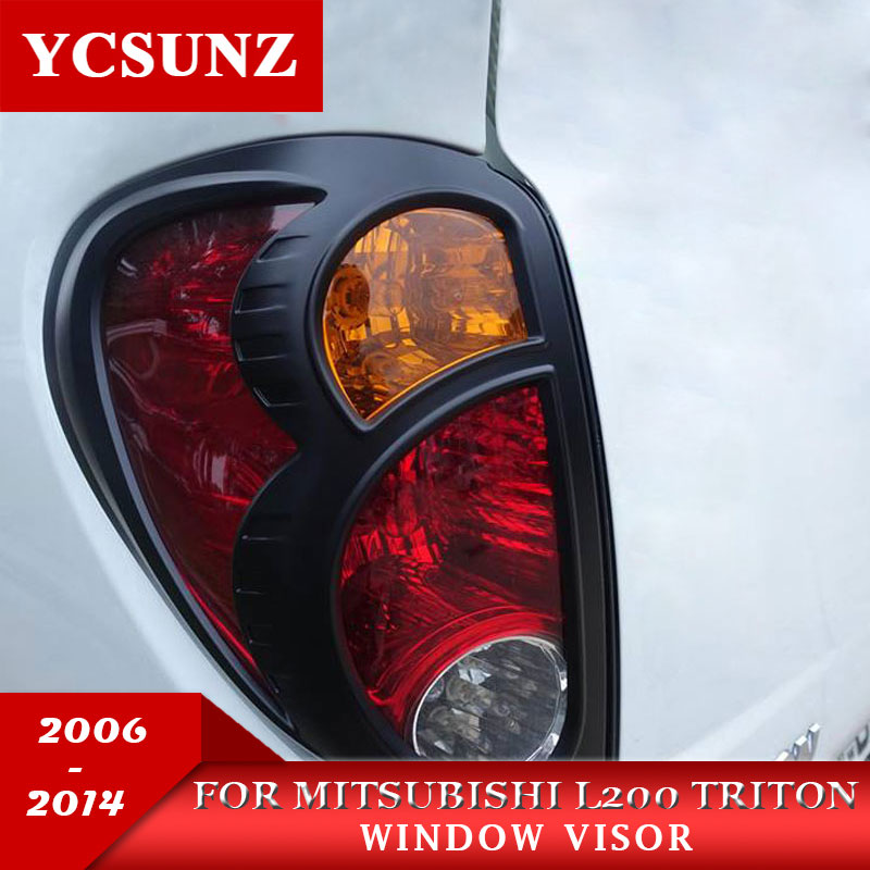 Black Tail Lights Cover For Mitsubishi L200 Triton 2006 2014 Rear Light Decorative Cover For Mitsubishi