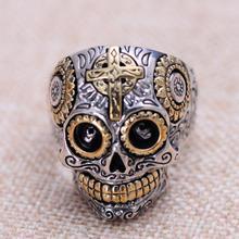 Настоящее Твердые стерлингового серебра 925 черепа кольца для мужчин ретро из чистого золота крест и солнце Fower гравировкой Винтаж панк украшения