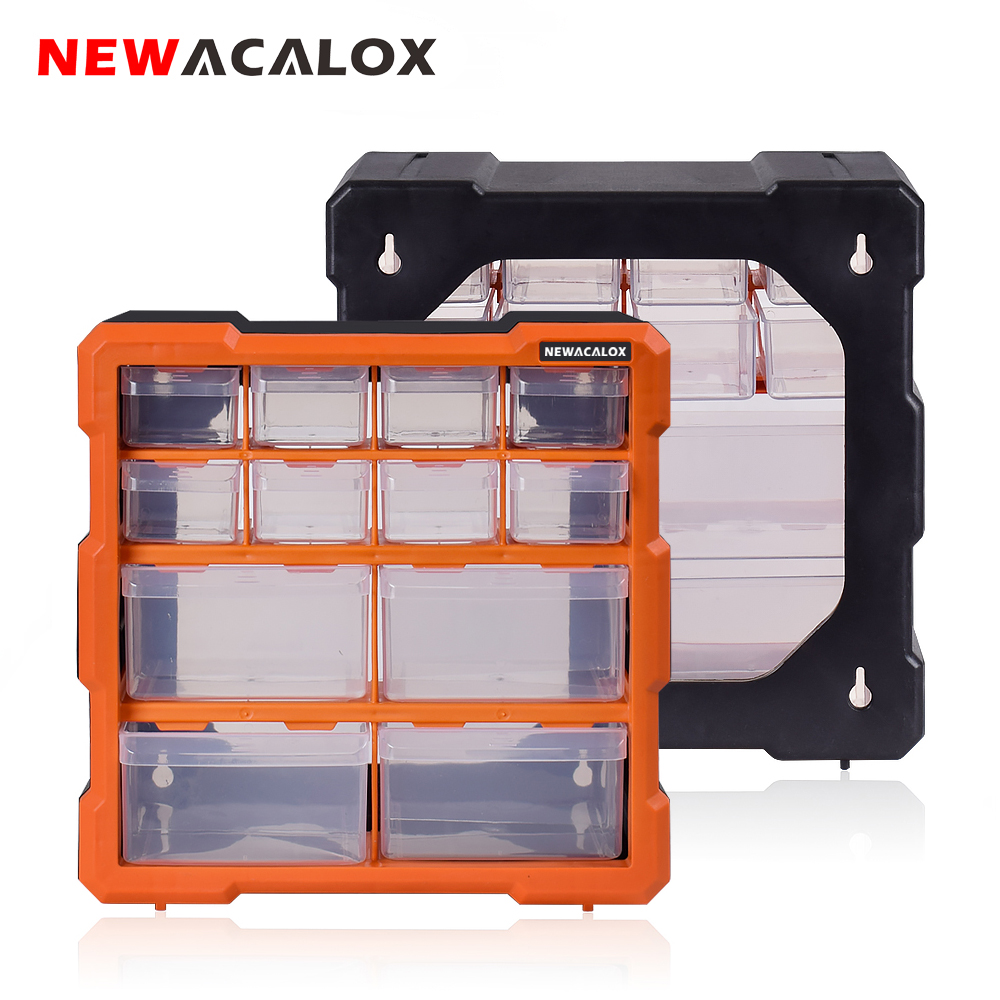NEWACALOX 2-22 Drawer Hardware Craft Plastic Cabinet Wall Mount Tool Box Combination Stitching Storage Box Parts Organizer Case