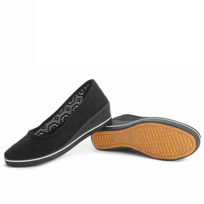 2019 Nuevo Black Plataforma Cómodo Plus Cuñas Casual Enfermera Mujer Mujeres De Aliento Calzado Tamaño Zapatos Hueco Lienzo araY5q