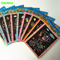 10pcs/lot 12.5*17.5cm Magic Scraping Drawing Paper Toys Two-in-One Coloring Picture Children Painting Learning