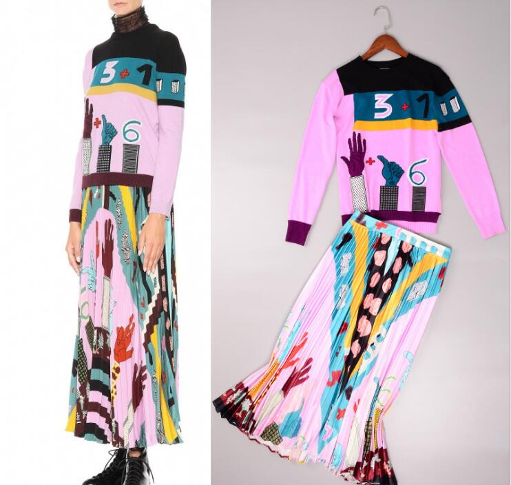 Fashion women sweaters pleated skirt two piece set New 2018 spring runways elegant skirt suits S279