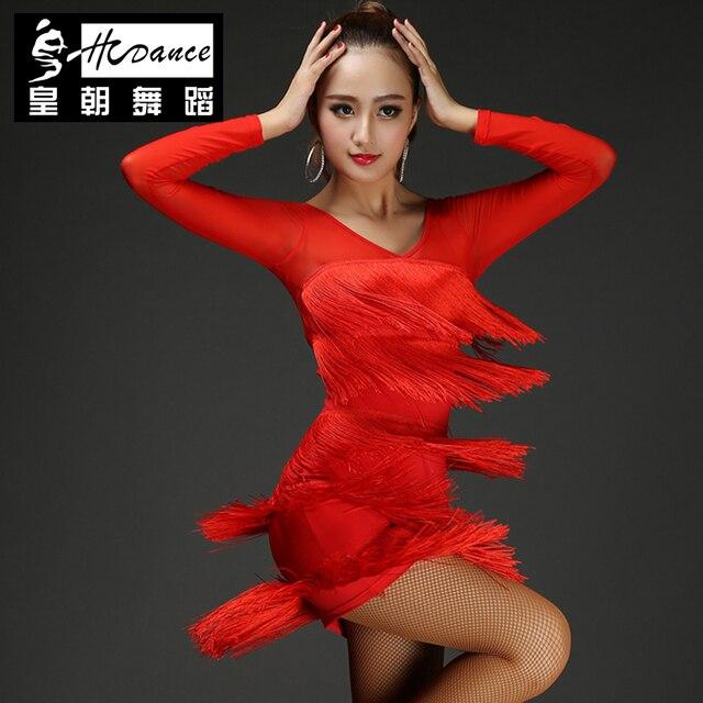 Hcdance 1920s Flapper Latin Dress Skirt Red Full Float Fringe Bodycon Dress Mini Soft Costume Ballroom