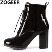女性のための靴ハイヒールショートブーツ特許レースアップ女性の足首のブーツ黒大サイズ45 46