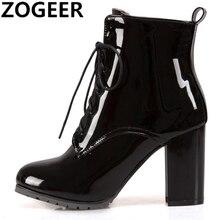 Moda yarım çizmeler kadınlar için yüksek topuklu ayakkabı kısa çizmeler Patent dantel up bayan yarım çizmeler mavi kırmızı siyah büyük boy 45 46