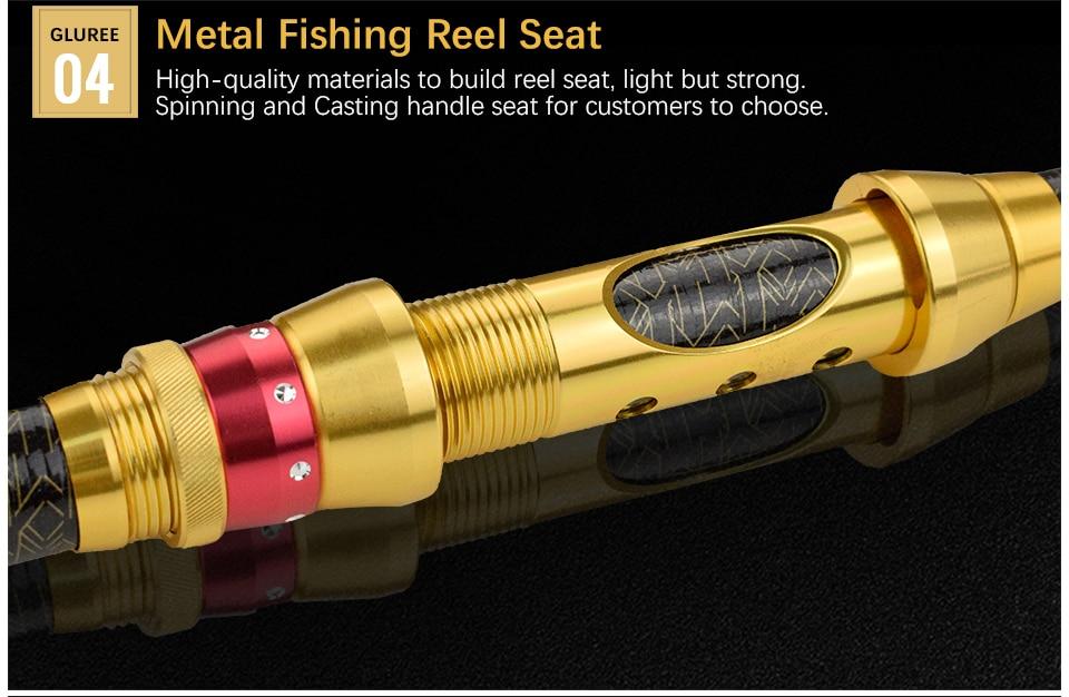 GLUREE 99%Carbon Portable Telescopic Fishing Rod Sea Rod1.82.12.42.73.0M Ocean Rod Spinning Fishing Tackle Golden Handle (13)