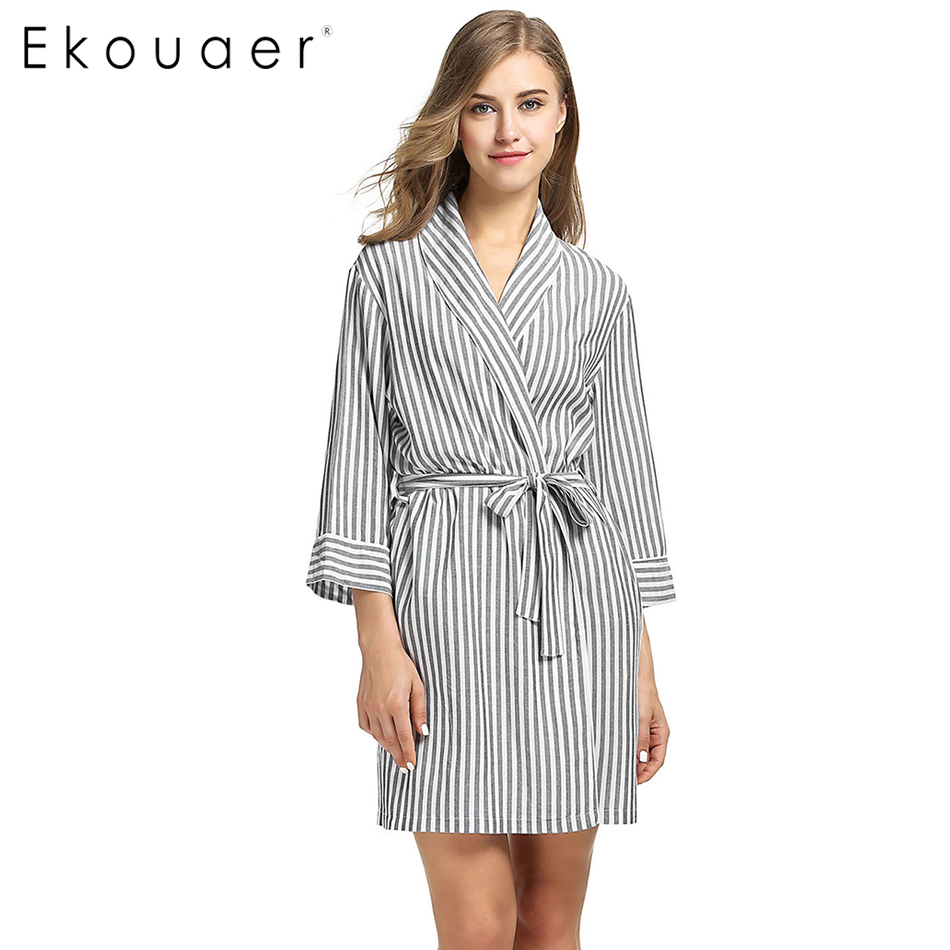 Ladies Dressing Gowns: Aliexpress.com : Buy Ekouaer Striped Sleepwear Robe Women
