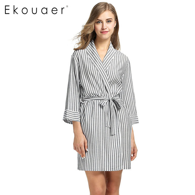 127e982dfd Ekouaer Striped Sleepwear Robe Women s Dressing Gown Casual 3 4 Sleeve  Summer Sexy Women Spa