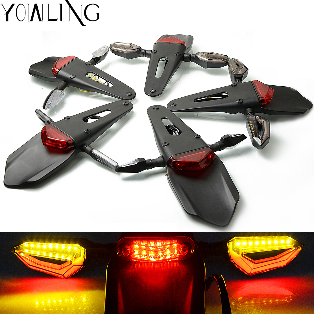 Motorcycle Enduro Trial Bike Fender 12 LED Brake Stop Rear Tail Light Motorbike Taillights Scooter Moto LED Turn Signal Light