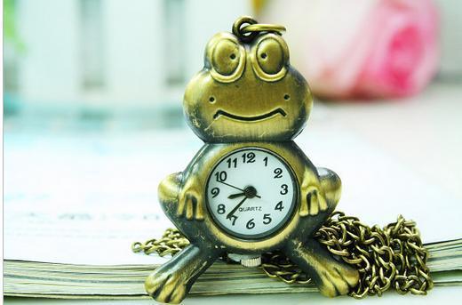 Cartoon Bronze Frog Design Children Necklace Pendant Clock Antique Pocket Watches Necklace Gift 10pcs/lot