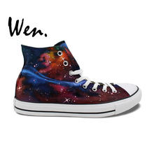 Wen Original Design Custom Hand Painted Shoes Carina Nebula Starlight Galaxy Men Women's High Top Canvas Sneakers