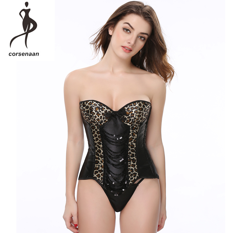 Sequin Vintage Leopard Print Lace Up Boned Overbust   Corset     Bustier   Bodyshaper Top for Women Lady 807#