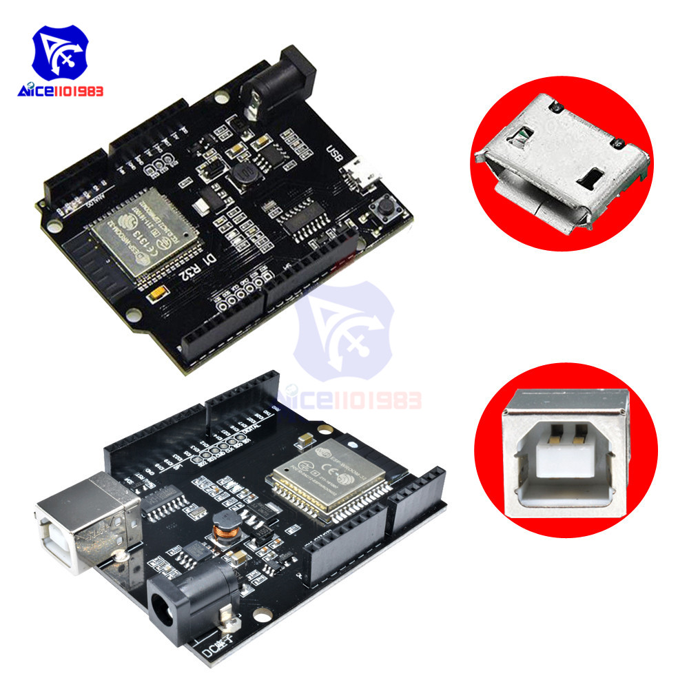 CH340 WeMos D1 R32 Mini ESP32 WIFI Bluetooth Development Board for Arduino UNO R3 WeMos TTGO with Type-B/Micro USB Adapter 5-12VCH340 WeMos D1 R32 Mini ESP32 WIFI Bluetooth Development Board for Arduino UNO R3 WeMos TTGO with Type-B/Micro USB Adapter 5-12V