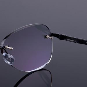 Image 4 - Óculos de sol estilo feminino sem aro quadro masculino liga de titânio óculos quadro corte diamante sem aro óculos com gradiente matiz lente