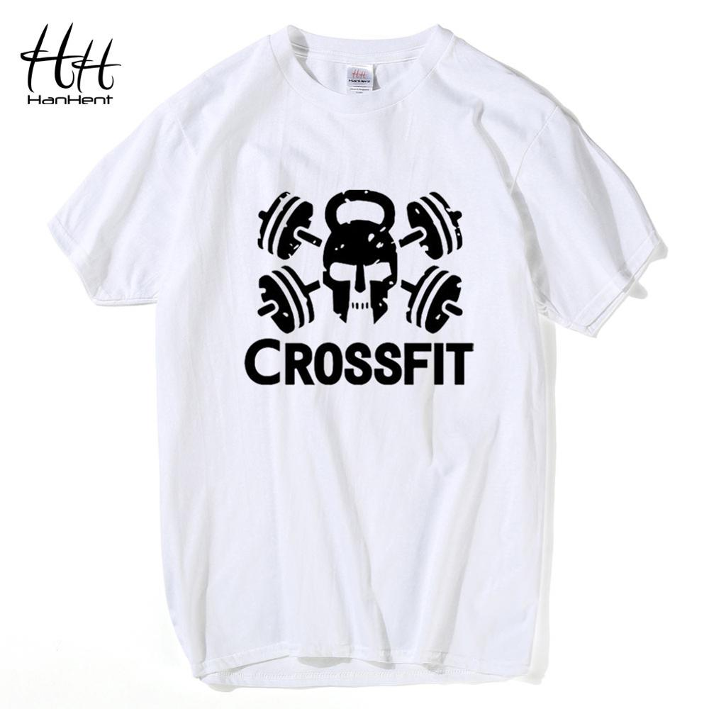 HanHent 100 Cotton Crossfit T Shirt For Man Weightlifting Summer White Shirt Male Graphic Tees Men Street Workout Printed Tshirt