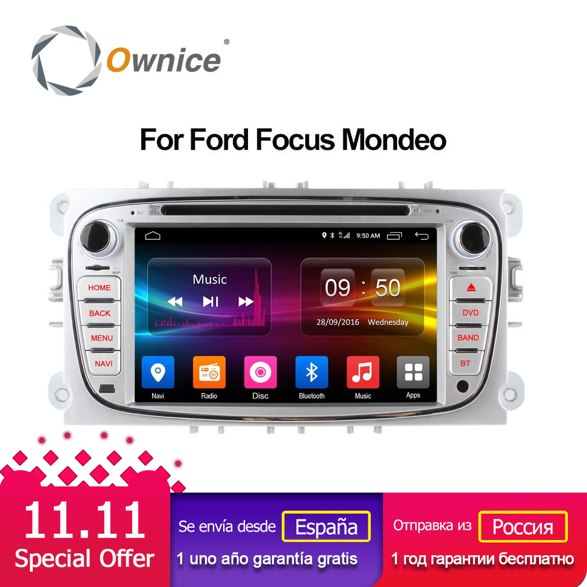 Ownice C500 Android 6.0 Octa Core 32G ROM Car DVD player GPS for Ford Mondeo S-Max Cmax Focus II GPS Radio Support 4G LTE ownice c500 4g sim lte octa 8 core android 6 0 for kia ceed 2013 2015 car dvd player gps navi radio wifi 4g bt 2gb ram 32g rom