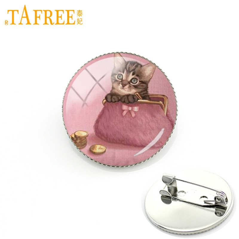 TAFREE Lucu Kucing dan Anjing Bros pada pink backround pin aksesoris Rhodium Disepuh manis gaya wanita perhiasan berkualitas tinggi A136